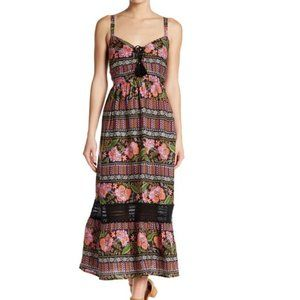 Band of Gypsies Patterned Lace-Up Maxi Dress